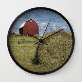 Hay Bales and Red Barn Wall Clock
