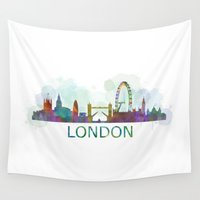 uk Wall Tapestries featuring London UK Skyline HQ watercolor by HQPhoto