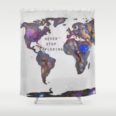 Star map. Never stop exploring... Shower Curtain