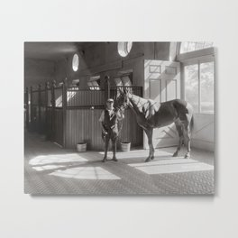 Horse Stable, 1933. Vintage Photo Metal Print