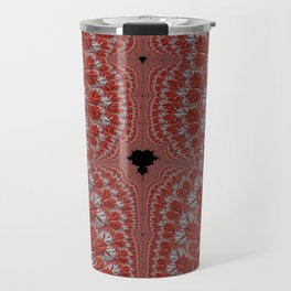Red and White Abstract Fractal Travel Mug