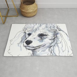 Poodle (portrait for my mom), watercolor Rug