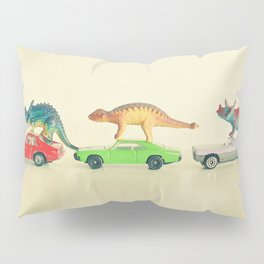 Dinosaurs Ride Cars Pillow Sham