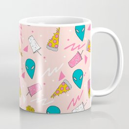 Alien outer space cute aliens french fries rad sodas pattern print pink Coffee Mug