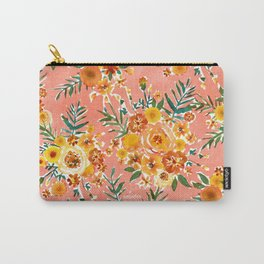 MARIGOLD'S GARDEN Happy Yellow Coral Floral Carry-All Pouch