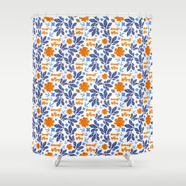 Gorgeous Blue and Orange Feminist Killjoy Print Shower Curtain