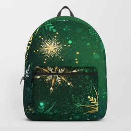 Gold Snowflakes on a Green Background Backpack