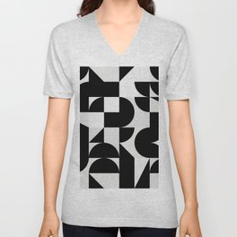 Modern Geometry / Minimal, Black, White, Grey Unisex V-Neck