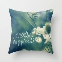 happiness Throw Pillows featuring Happiness by Sandra Arduini