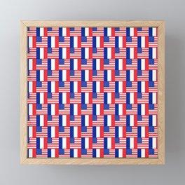 Mix of flag: france and usa Framed Mini Art Print