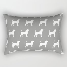 White Coonhound Silhouette Rectangular Pillow