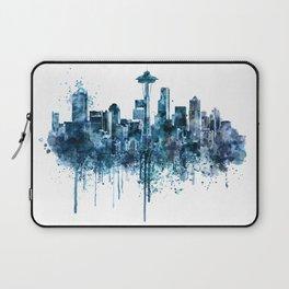 Seattle Skyline monochrome watercolor Laptop Sleeve