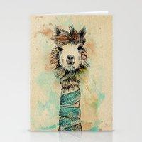 lama Stationery Cards featuring Lama by Anastasia Tayurskaya