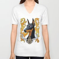 doberman V-neck T-shirts featuring doberman - Vera by PaperTigress
