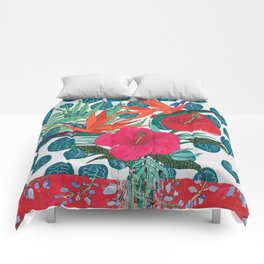 Tropical Bouquet in Living Coral and Emerald Green Comforters