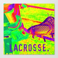 lacrosse Canvas Prints featuring LACROSSE PLAYER by TMCdesigns