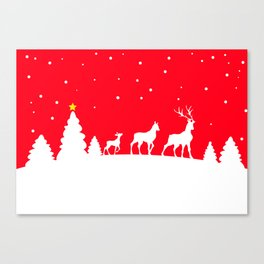 deer family in winter landscape Canvas Print