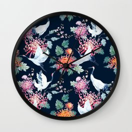 Vintage Japanese crane birds illustration pattern Wall Clock