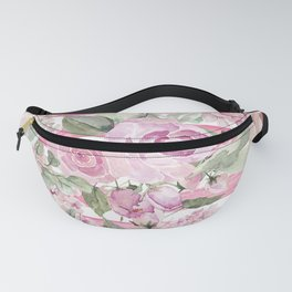 Country chic watercolor pastel green pink geometric floral Fanny Pack