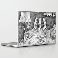 knitting Laptop & iPad Skins featuring Knitting Cats by Ulrika Kestere