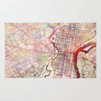 philadelphia Area & Throw Rugs featuring Philadelphia by MapMapMaps.Watercolors