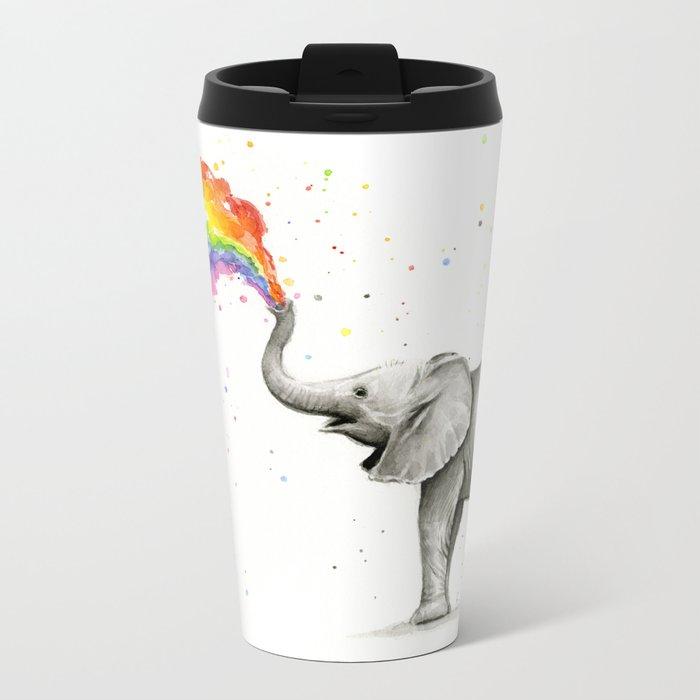 Baby Elephant Spraying Rainbow Whimsical Animals Metal Travel Mug