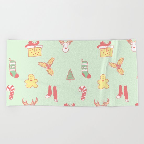 Pastel Bright Christmas Beach Towel