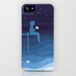 Boy with paper boats, blue iPhone Case