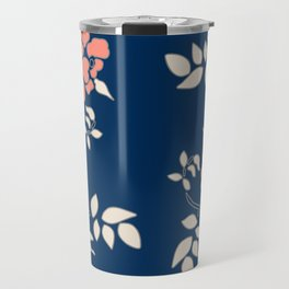 FLORAL IN BLUE AND CORAL Travel Mug