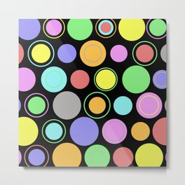 Retro Spots - Pastel Coloured Spots And Rings Metal Print