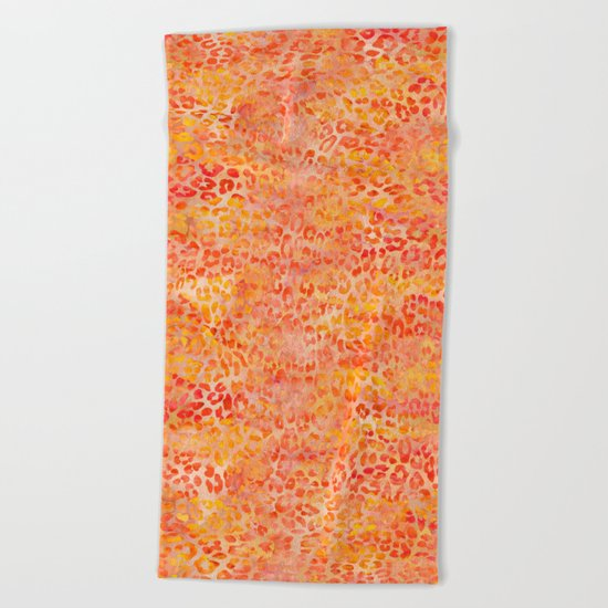 Orange Leopard Print Beach Towel