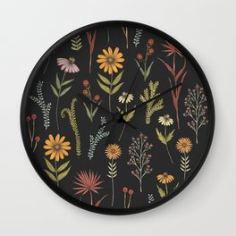flat lay floral pattern on a dark background Wall Clock