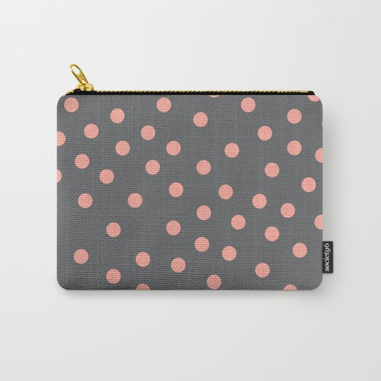 Simply Dots Salmon Pink on Storm Gray Carry-All Pouch