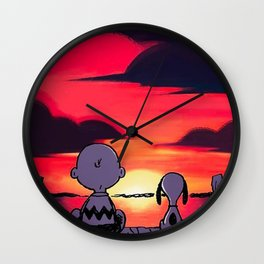 snoopy sunset Wall Clock