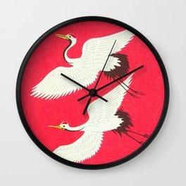 Tokuriki Tomikichiro Flying Cranes 1950s Japanese Woodblock Print Asian Historical Wall Clock