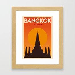 Bangkok City Retro Poster Framed Art Print