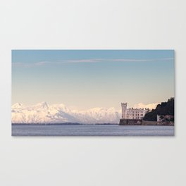 Miramar Castle with Italian Alps in background. Trieste Italy Canvas Print