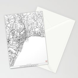 Malaga Map White Stationery Cards