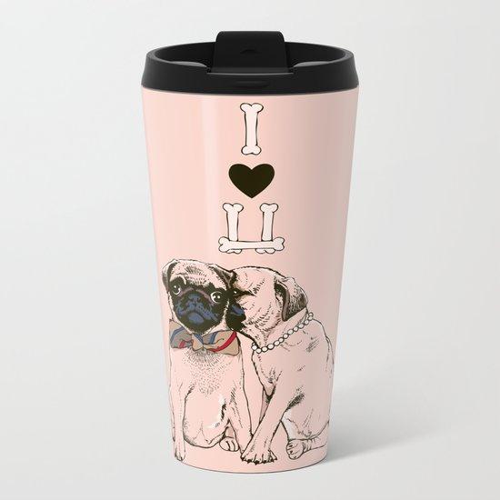 The Love of Pug Metal Travel Mug
