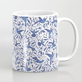 Delft Blue Humming Birds & Leaves Pattern Coffee Mug