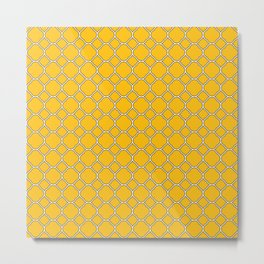 Amber Yellow Clover Pattern Metal Print