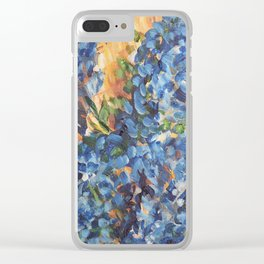 Blue Hydrangea Flowers 2, Blue Abstract, Modern Impressionism Painting Clear iPhone Case
