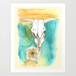 South West Cow Skull Art Print
