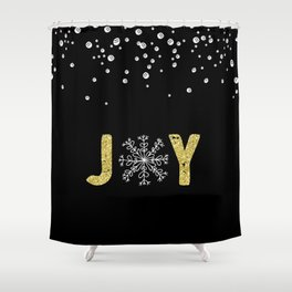 JOY w/White Snowflakes Shower Curtain
