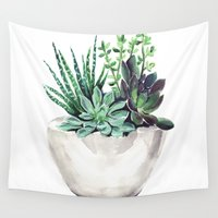 succulents Wall Tapestries featuring Succulents by Bridget Davidson