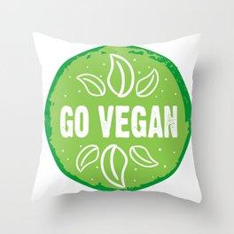 GO VEGAN, green circle (2) Throw Pillow