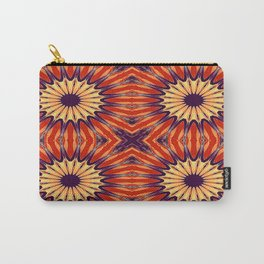 Coral Indigo Pinwheel Flowers Carry-All Pouch