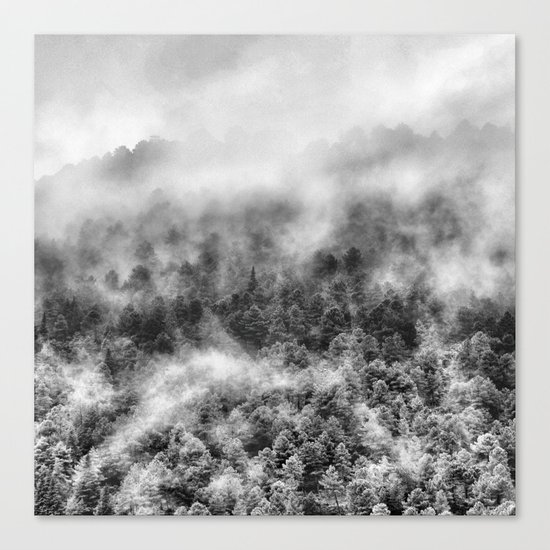 """Mountain light III BW"". Foggy forest. Canvas Print"