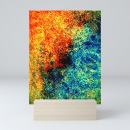 Abstract painting orange blue Mini Art Print