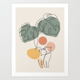 Cat and Plant 36 Art Print